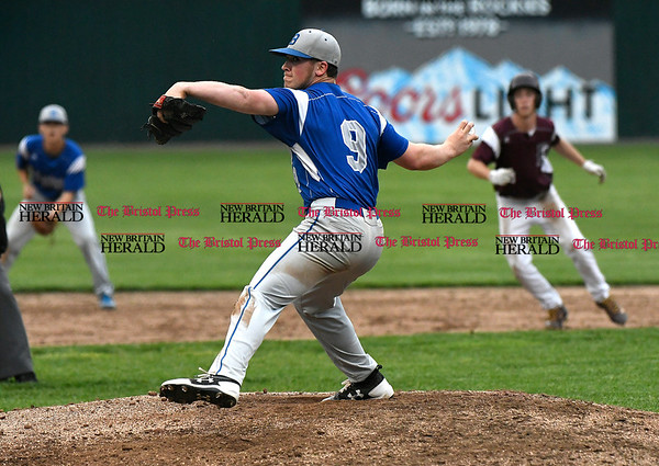 5/23/2017 Mike Orazzi | Staff Bristol Eastern's Zach Marquis (9) at Muzzy Field Tuesday night.