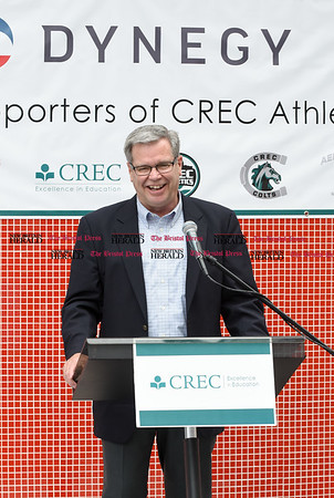 052217 Wesley Bunnell | Staff Energy company Dynegy visited CREC Academy of Science & Innovation to present a donation for $100,000 for CREC athletics. Dynegy Executive V.P. of Operations Marty Daley