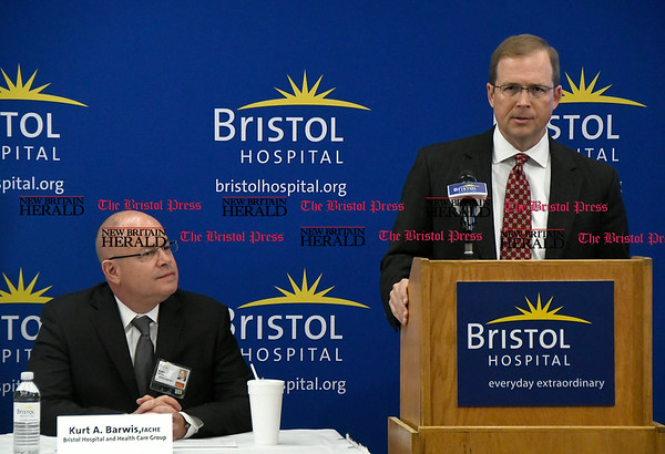 5/25/2017 Mike Orazzi | Staff Rendina Healthcare Real Estate's Brian C. Cich during the unveiling of the Bristol Hospital Ambulatory Care Center to be built on the corner of Riverside Avenue and Main Street in downtown Bristol.