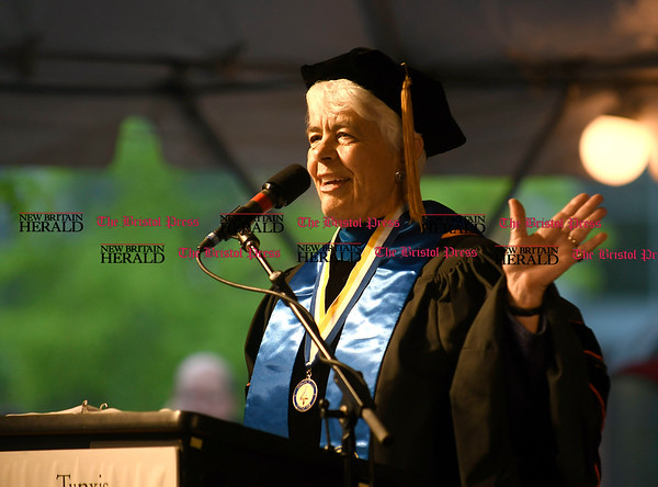 5/25/2017 Mike Orazzi | Staff Tunxis Community College President Dr. Cathryn Addy during the Forty-sixth Commencement on a rainy Thursday evening in Farmington.