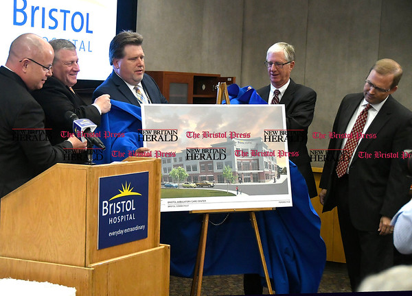 5/25/2017 Mike Orazzi | Staff The unveiling of the Bristol Hospital Ambulatory Care Center to be built on the corner of Riverside Avenue and Main Street in downtown Bristol.