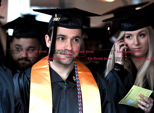5/25/2017 Mike Orazzi | Staff Tunxis Community College graduate Logan Klein at the Forty-sixth Commencement Thursday evening in Farmington.
