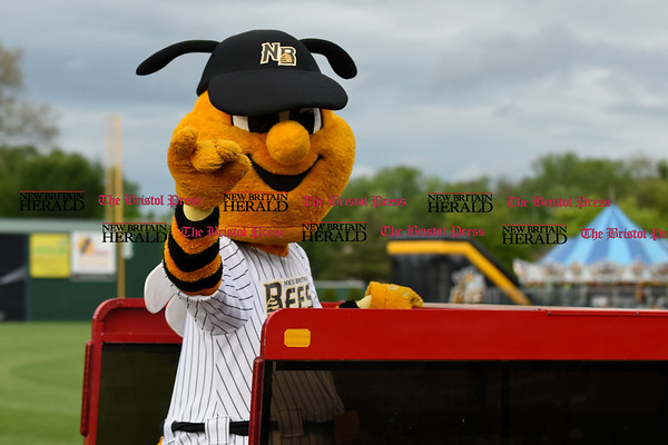 052617 Wesley Bunnell | Staff The New Britain Bees were defeated by the Southern Maryland Blue Crabs 3-1 on Friday evening. Sting rides in on the Dattco Bus.