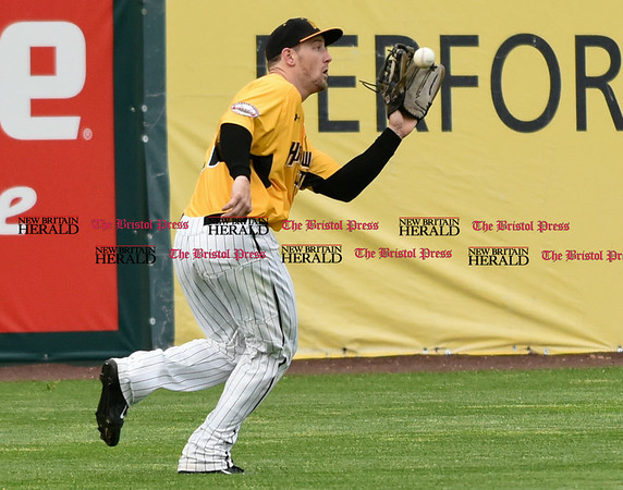 052617 Wesley Bunnell | Staff The New Britain Bees were defeated by the Southern Maryland Blue Crabs 3-1 on Friday evening. Conor Bierfeldt (28) with a catch in left field in the first inning.