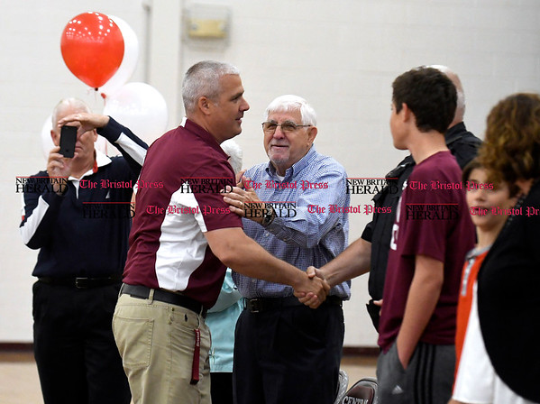 "5/26/2017 Mike Orazzi | Staff Bristol Central Principal Pete Wininger during an assembly honoring him for being named the ""Principal of Principle"" by Varsity Brands."