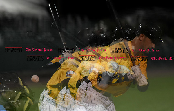 052617 Wesley Bunnell | Staff The New Britain Bees were defeated by the Southern Maryland Blue Crabs 3-1 on Friday evening. Multiple exposure of Conor Bierfeldt (28)