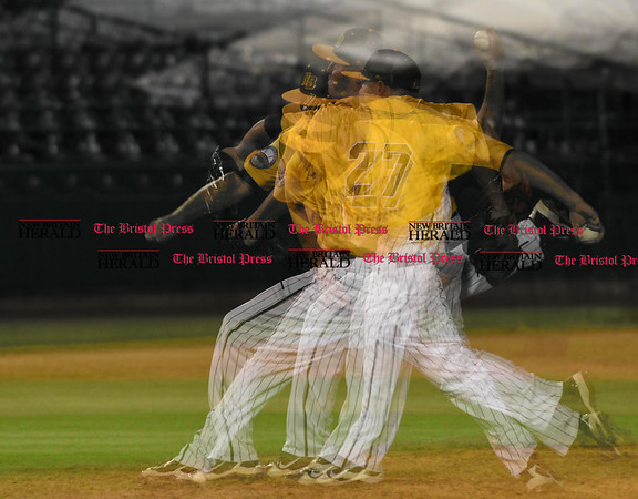 052617 Wesley Bunnell | Staff The New Britain Bees were defeated by the Southern Maryland Blue Crabs 3-1 on Friday evening. Multi exposure of Jason Jarvis (27).
