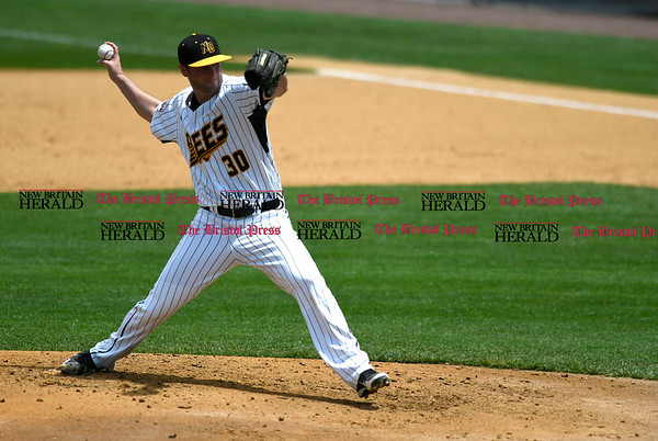 5/27/2017 Mike Orazzi | Staff New Britain Bees' Brian Dupra (30) during Saturday's game with the Southern Maryland Blue Crabs.
