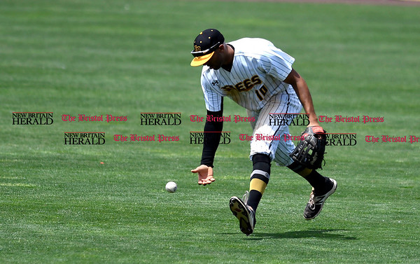 5/27/2017 Mike Orazzi | Staff New Britain Bees' Mike Crouse (10) during Saturday's game with the Southern Maryland Blue Crabs.