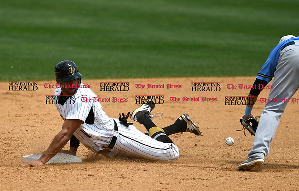 5/27/2017 Mike Orazzi | Staff New Britain Bees' Mike Crouse (10) slides into second during Saturday's game with the Southern Maryland Blue Crabs.