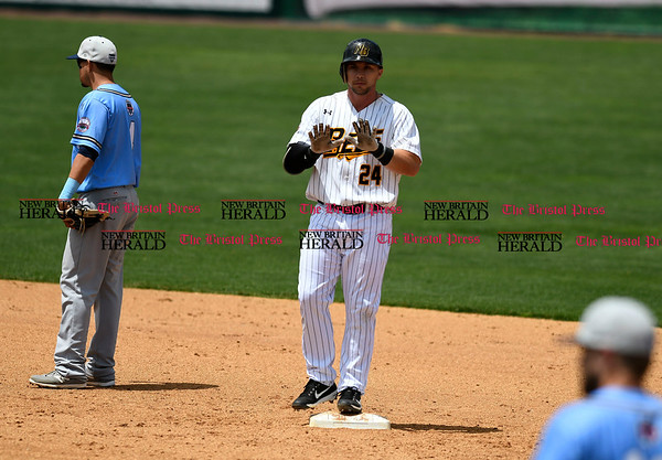 5/27/2017 Mike Orazzi | Staff New Britain Bees' Craig Maddox (24) during Saturday's game with the Southern Maryland Blue Crabs.