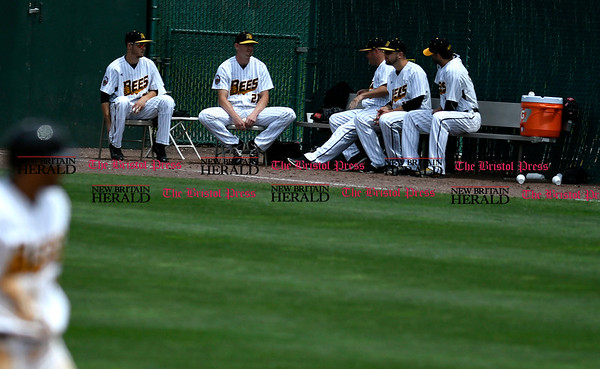 5/27/2017 Mike Orazzi | Staff New Britain Bees bullpen during Saturday's game with the Southern Maryland Blue Crabs.