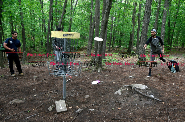 5/27/2017 Mike Orazzi | Staff Mike Cronin and Joe Richardson while playing a disk golf fundraiser for Kevin Adorno in Page Park Saturday morning.