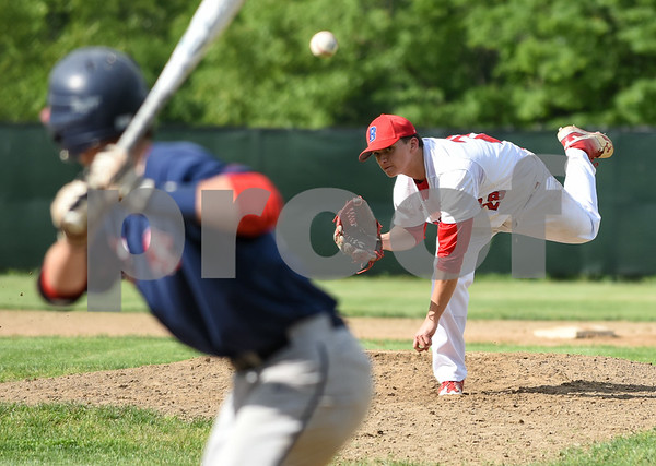 053117 Wesley Bunnell | Staff Berlin High baseball eliminated in the second round of the Class L state tournament by Foran High from Milford. Pitcher Zachary Philippon (28).