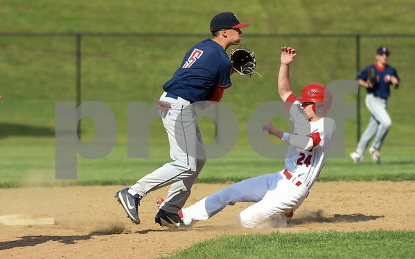 053117 Wesley Bunnell | Staff Berlin High baseball eliminated in the second round of the Class L state tournament by Foran High from Milford. Connor Giudice (24) is forced at second base.