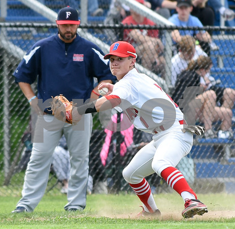 053117 Wesley Bunnell | Staff Berlin High baseball eliminated in the second round of the Class L state tournament by Foran High from Milford. Third baseman Michael Giove (1).