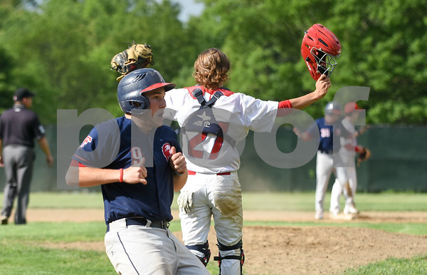 053117 Wesley Bunnell | Staff Berlin High baseball eliminated in the second round of the Class L state tournament by Foran High from Milford. Catcher Ryan Hyde (27) motions for a no throw to the plate.