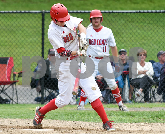 053117 Wesley Bunnell | Staff Berlin High baseball eliminated in the second round of the Class L state tournament by Foran High from Milford. Cody Lacasse (5).