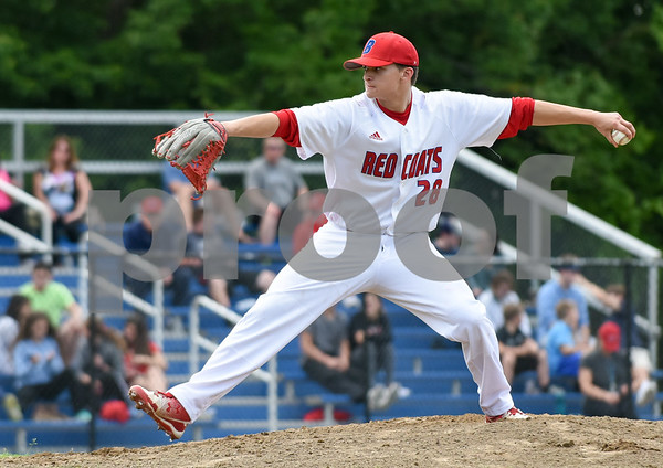 053117 Wesley Bunnell | Staff Berlin High baseball eliminated in the second round of the Class L state tournament by Foran High from Milford. Pitcher Zachary Phillippon (28).