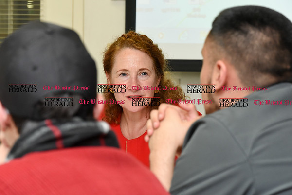 050517 Wesley Bunnell | Staff Congresswoman Elizabeth Esty spoke with CCSU student leaders on an Immigration Roundtable on Friday afternoon. Congresswoman Esty as students discuss their immigration concerns.