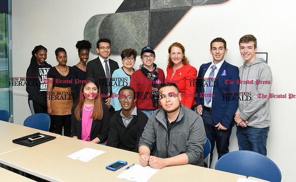 050517 Wesley Bunnell | Staff Congresswoman Elizabeth Esty spoke with CCSU student leaders on an Immigration Roundtable on Friday afternoon. Student leaders pose for a group photo with Congresswoman Esty.