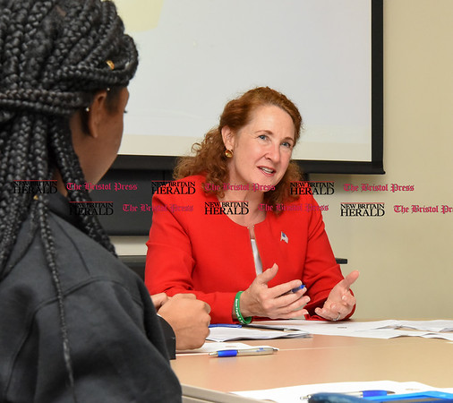 050517 Wesley Bunnell | Staff Congresswoman Elizabeth Esty spoke with CCSU student leaders on an Immigration Roundtable on Friday afternoon. Congresswoman Esty.
