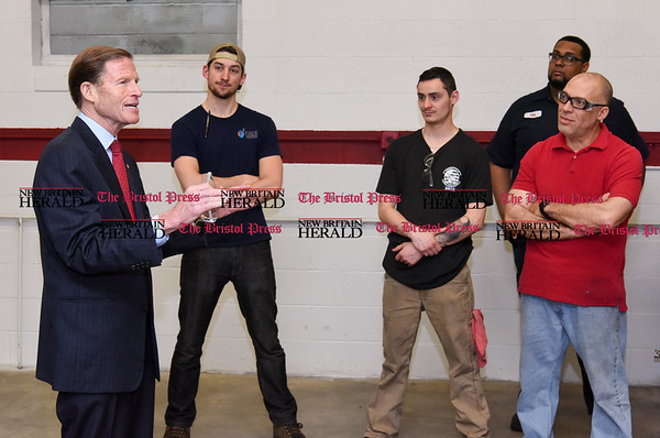 050517 Wesley Bunnell | Staff Senator Richard Blumenthal addresses workers of Winslow Automatics Incorporated at the conclusion of his visit on Friday afternoon for a discussion on small businesses. Winslow manufacturers parts for use on the engine of the F-35 fighter.