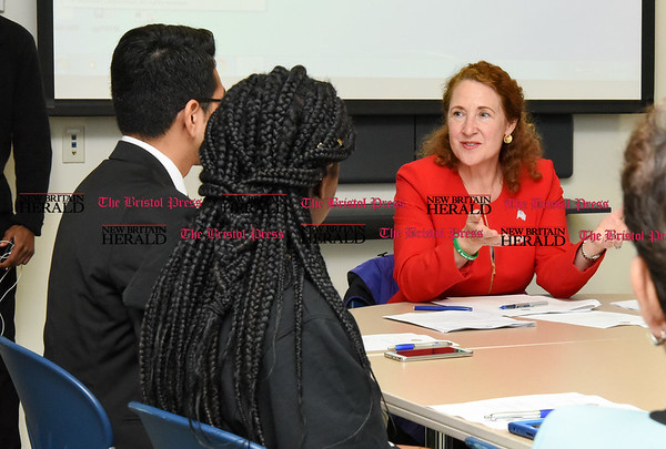 050517 Wesley Bunnell | Staff Congresswoman Elizabeth Esty spoke with CCSU student leaders on an Immigration Roundtable on Friday afternoon.