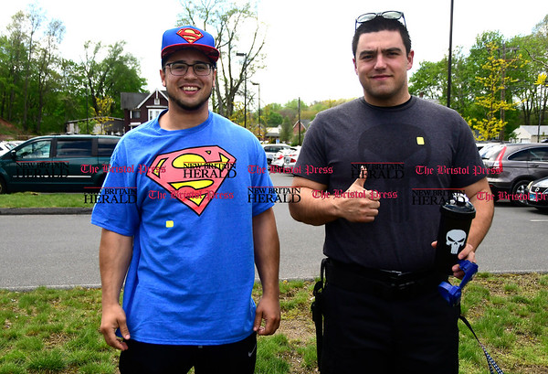 5/6/2017 Mike Orazzi | Staff Michael DuPuis and Michael Paparello during the Southington Public Librarys ComicCon Saturday.