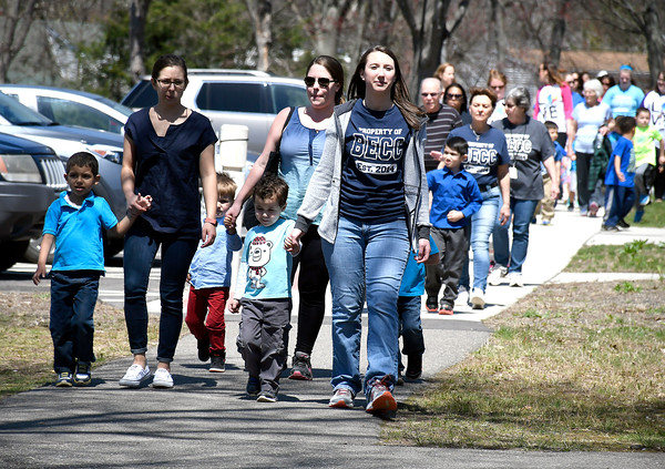 5/1/2018 MIke Orazzi | Staff Walkers from the Bristol Early Childhood Center on the new walking trail at the Bristol Center Tuesday.