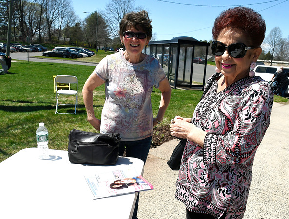 5/1/2018 MIke Orazzi | Staff Phyllis Hart and Joanne McMahon during the senior olympics at the Bristol Senior Center Tuesday.