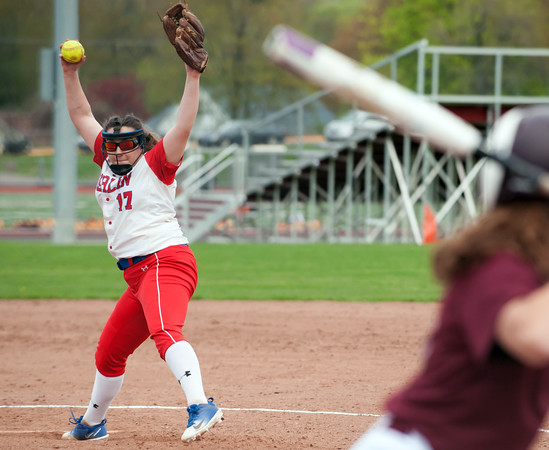 05/07/18 Wesley Bunnell | Staff Berlin softball defeated Bristol Central 4-0 on Monday afternoon to secure its spot in the CIAC Tournament. Berlin pitcher Stefanie Poulin (17).