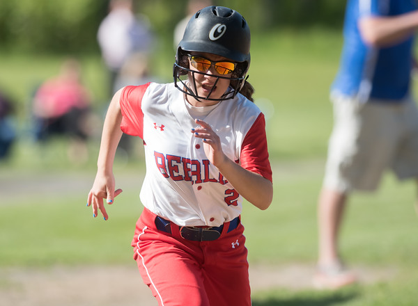 05/14/18 Wesley Bunnell | Staff Berlin softball vs Platt Tech on Monday afternoon at Sage Park. Jenna Zup (2) on her way home to score.