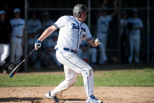 05/14/18 Wesley Bunnell | Staff St. Paul Catholic baseball vs Oxford at St. Paul Catholic High School on Monday afternoon. First baseman Ryan Green (20).
