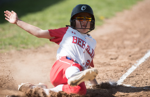 05/14/18 Wesley Bunnell | Staff Berlin softball vs Platt Tech on Monday afternoon at Sage Park. Jenna Zup (2) slides into home to score a run.