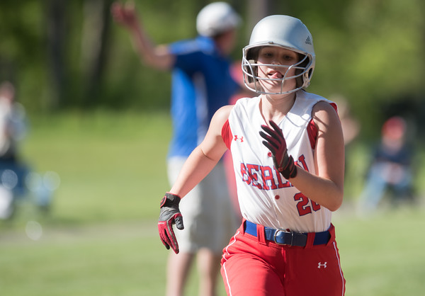 05/14/18 Wesley Bunnell | Staff Berlin softball vs Platt Tech on Monday afternoon at Sage Park. Julia Ladd (20) on her way home to score.
