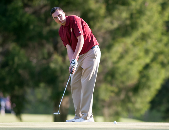 05/10/18 Wesley Bunnell | Staff New Britain golf defeated Bristol Eastern 212-219 at Stanley Golf Course on Thursday afternoon. New Britain's Arthur Bell putts on the 9th hole.