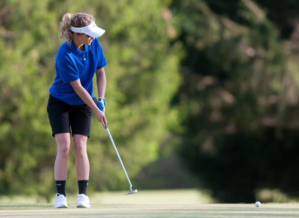 05/10/18 Wesley Bunnell | Staff New Britain golf defeated Bristol Eastern 212-219 at Stanley Golf Course on Thursday afternoon. Bristol Eastern's Olivia Beaudoin putts on the 9th hole.