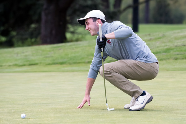 05/10/18 Wesley Bunnell | Staff New Britain golf defeated Bristol Eastern 212-219 at Stanley Golf Course on Thursday afternoon. New Britain's Tim Carrier reacts to his putt stopping on the lip of the hole.