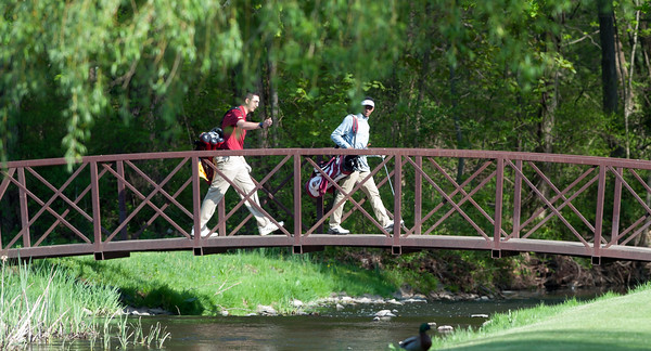 05/10/18 Wesley Bunnell | Staff New Britain golf defeated Bristol Eastern 212-219 at Stanley Golf Course on Thursday afternoon. New Britain's Arthur Bell, L, and Dylan Washington.