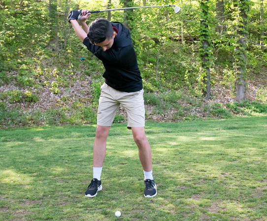 05/10/18 Wesley Bunnell | Staff New Britain golf defeated Bristol Eastern 212-219 at Stanley Golf Course on Thursday afternoon. New Britain's Johnny Morell with his tee shot on the eighth hole.