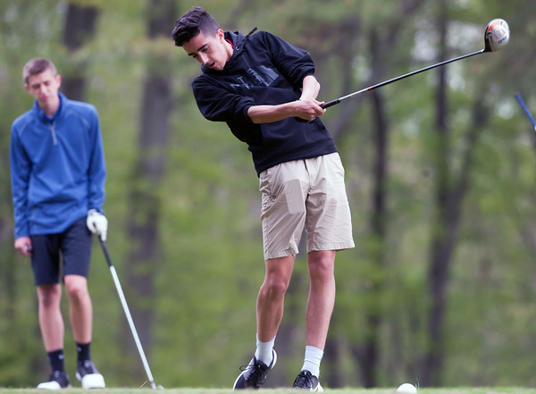 05/10/18 Wesley Bunnell | Staff New Britain golf defeated Bristol Eastern 212-219 at Stanley Golf Course on Thursday afternoon. New Britain's Johnny Morell on the tee.