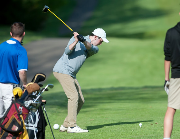 05/10/18 Wesley Bunnell | Staff New Britain golf defeated Bristol Eastern 212-219 at Stanley Golf Course on Thursday afternoon. New Britain's Tim Carrier tees off on the 9th hole.