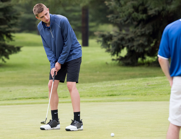 05/10/18 Wesley Bunnell | Staff New Britain golf defeated Bristol Eastern 212-219 at Stanley Golf Course on Thursday afternoon. Bristol Eastern's Drew Fries with his putt.