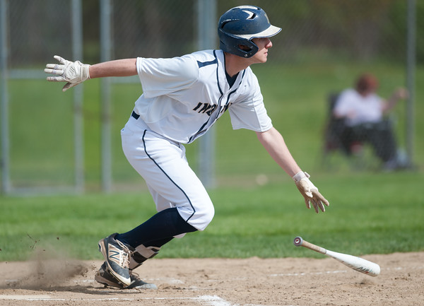 05/11/18 Wesley Bunnell | Staff Newington baseball vs Hall on Friday afternoon at Newington High School. Ethan Erbera (25) with a base hit.