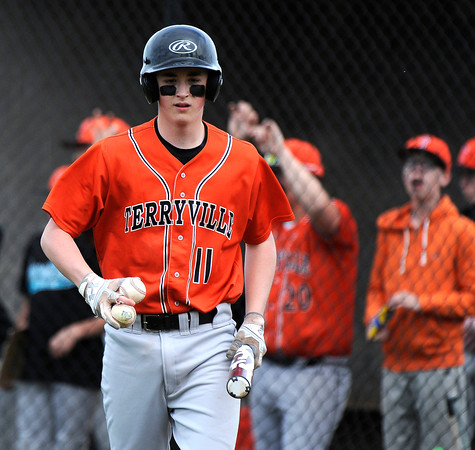 5/11/2018 Mike Orazzi | Staff Terryville's Colin Bamrick (11) Friday at THS.