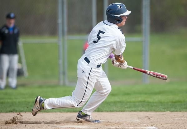 05/11/18 Wesley Bunnell | Staff Newington baseball vs Hall on Friday afternoon at Newington High School. Gunnar Johnson (5).
