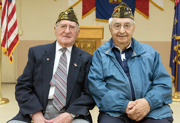 05/16/18 Wesley Bunnell | Staff The Berlin VFW 10732 held their installation of officers on Wednesday May 16th. WWII Veterans Sam D'Amato , L and Alfred Gregory.