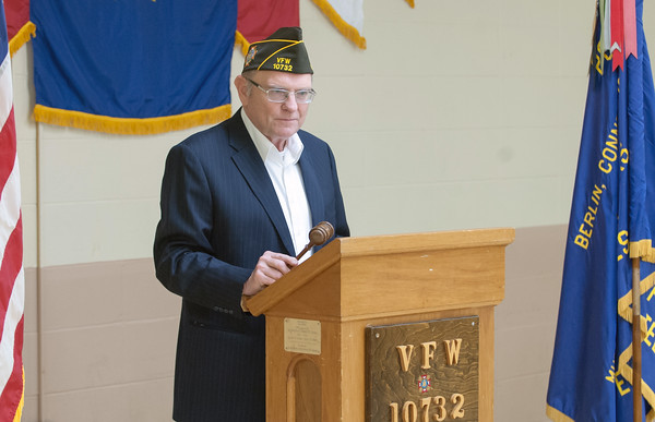 05/16/18 Wesley Bunnell | Staff The Berlin VFW 10732 held their installation of officers on Wednesday May 16th. Dave Kloskowski at the start of the ceremony.
