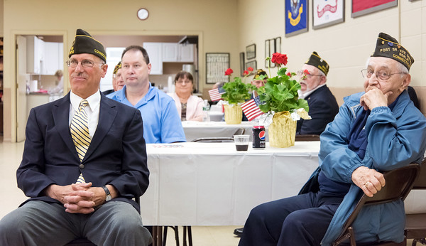 05/16/18 Wesley Bunnell | Staff The Berlin VFW 10732 held their installation of officers on Wednesday May 16th. Senior Vice Commander Bill Hamel, L, filled in for the incoming Commander who was unable to attend as WWII Veteran Alfred Gregory, R, looks on.
